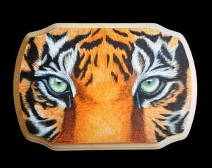 Tiger Eyes, in colored pencil on wood.